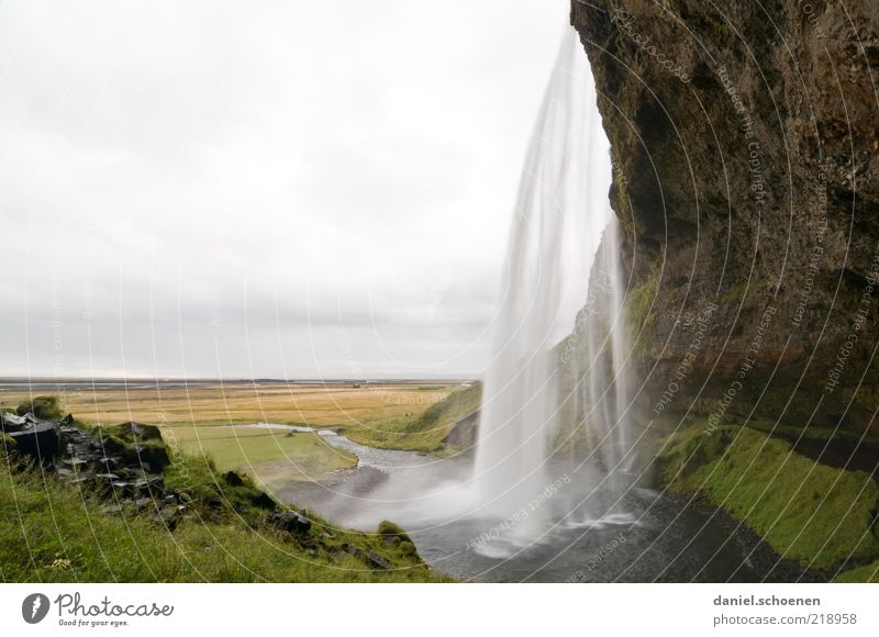 Seljalandsfoss Natur Wasser Wolken Wiese Berge u. Gebirge Bewegung Landschaft Umwelt nass Felsen hoch wild außergewöhnlich feucht Island Wasserfall