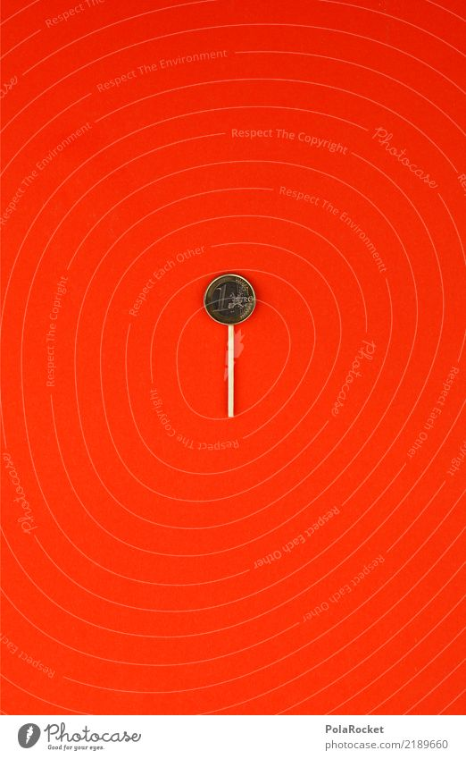 #AS# 1 Euro Lutscher Geld kaufen geizig Geldmünzen rot Besenstiel Lollipop Kreativität sparen Investor Farbfoto Experiment Menschenleer Kunstlicht