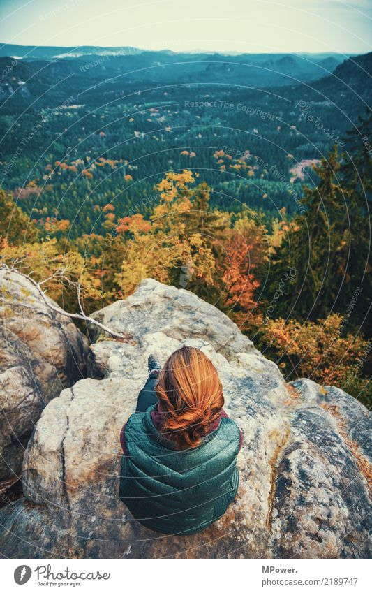 gute aussichten Natur Ferien & Urlaub & Reisen Pflanze Junge Frau Baum Landschaft Einsamkeit Wolken ruhig Ferne Berge u. Gebirge Umwelt Tourismus Freiheit