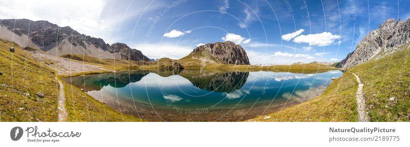 idyllic reflection panorama in austria Natur Ferien & Urlaub & Reisen blau Sommer grün Landschaft Erholung Wolken ruhig Ferne Berge u. Gebirge Leben Küste