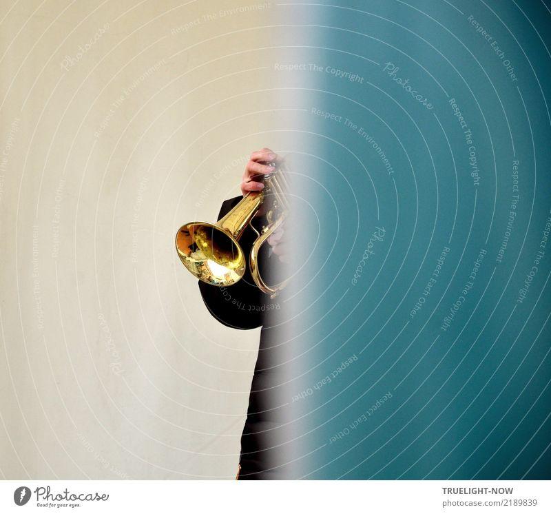 Vor dem Auftritt... Jugendliche blau schön Junger Mann Hand Freude schwarz Lifestyle Spielen Feste & Feiern grau Freizeit & Hobby glänzend elegant gold Musik