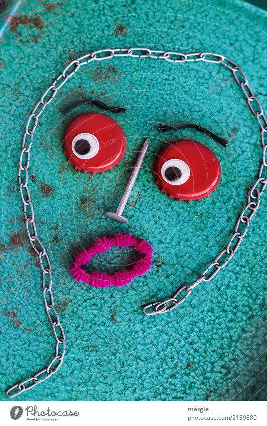 Emotionen...coole Gesichter: Kronkorki Frau Mensch Mann grün rot Erwachsene feminin maskulin türkis androgyn