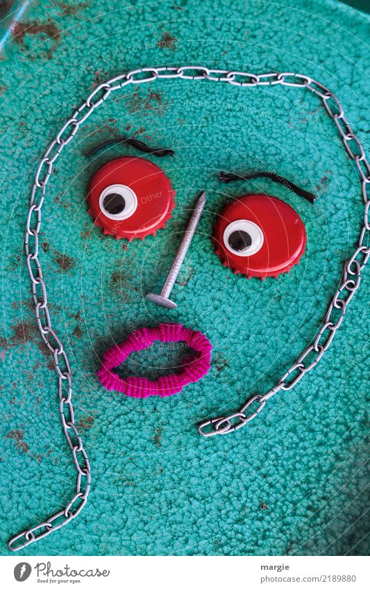 Emotionen...coole Gesichter: Kronkorki Freizeit & Hobby Basteln heimwerken maskulin feminin androgyn Kind Frau Erwachsene Mann 1 Mensch grün rot türkis