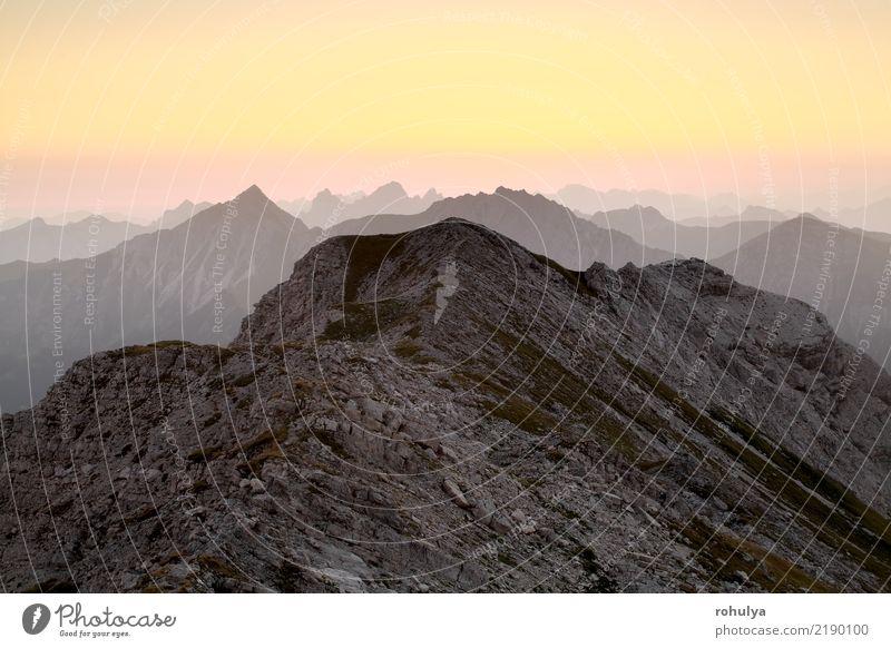 Bergkamm Silhouette bei Sonnenaufgang, Allgäuer Alpen Himmel Natur Sommer schön Landschaft Berge u. Gebirge Stein Deutschland Felsen Horizont Aussicht