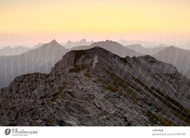 Bergkamm Silhouette bei Sonnenaufgang, Allgäuer Alpen schön Sommer Berge u. Gebirge Klettern Bergsteigen Natur Landschaft Himmel Wolkenloser Himmel Horizont