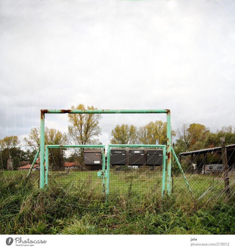 bitte keine werbung! Natur Himmel Baum Pflanze Wiese Herbst Gras trist Sträucher Dorf trashig Zaun Eisen Scheune Briefkasten Wolkenhimmel