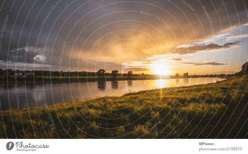 elbaue Umwelt Schönes Wetter Kitsch Elbe Elbufer Flussufer Sonnenuntergang Regenwolken Dresden Naturschutzgebiet Weltkulturerbe Farbfoto Menschenleer Abend