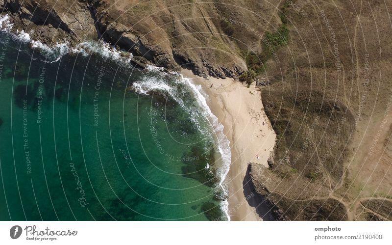 Einsames Strand-Luftbild Natur Ferien & Urlaub & Reisen blau Sommer weiß Sonne Landschaft Meer Erholung Küste Tourismus Sand Felsen Wellen Aussicht