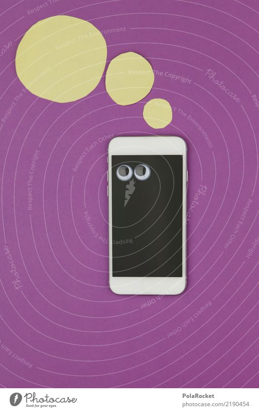 #AS# Mobile Frage Kunst Kunstwerk ästhetisch Handy Handy-Kamera Anzeige Bildschirm violett Gedanke gedankenlos clever PDA Comic Denken Computernetzwerk