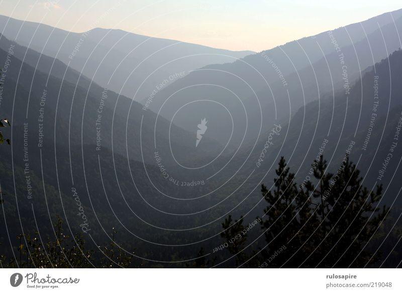 tiefe Ferien & Urlaub & Reisen Ferne Berge u. Gebirge Natur Landschaft Luft Sonnenlicht Wald Rila-Gebirge Tal Bulgarien dunkel hell blau schwarz weiß Erholung