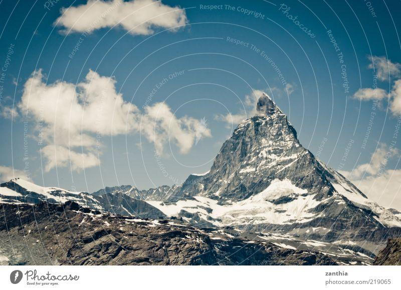 Matterhorn Natur alt Himmel weiß blau Sommer ruhig Wolken Schnee Berge u. Gebirge grau Landschaft Umwelt groß Klima Schweiz