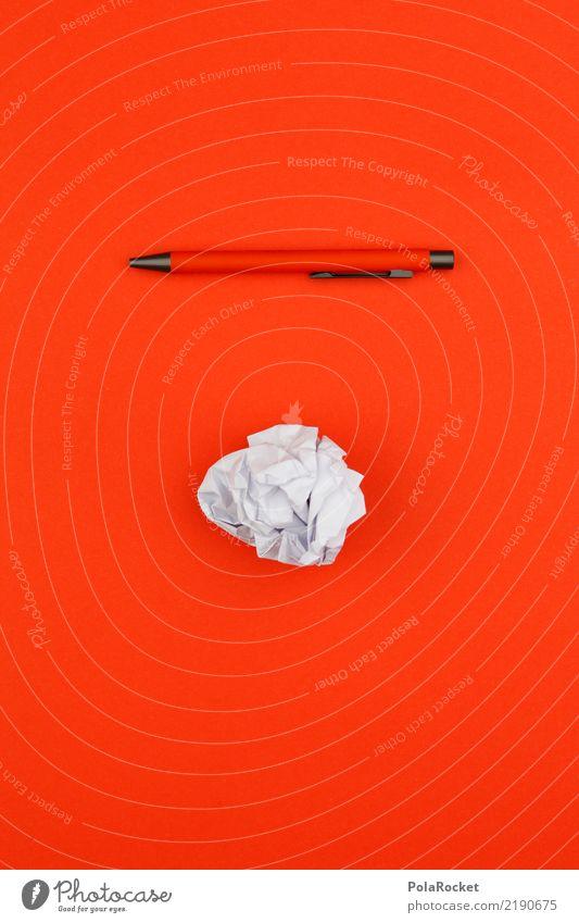 #AS# work tools blau rot Kunst orange ästhetisch Kreativität Idee Papier schreiben Falte Schreibstift Brainstorming Kugelschreiber Papiermüll Papierkorb