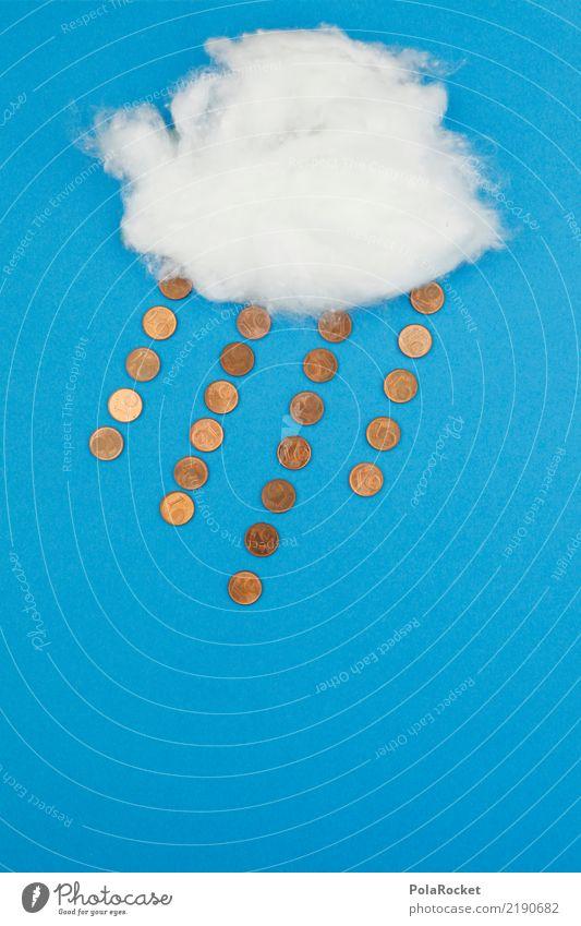 #AS# Geldregen Kunst Kunstwerk ästhetisch blau Blauer Himmel Regen Regenwolken Comic graphisch Grafische Darstellung Geldmünzen Kreativität Idee Wolken Design
