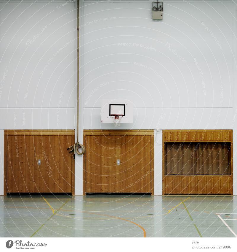 turnsaal Sport Sportstätten mehrzweckhalle hallensport Basketball Bauwerk Gebäude Fassade Sporthalle Tor Innenaufnahme Farbfoto Menschenleer Textfreiraum oben