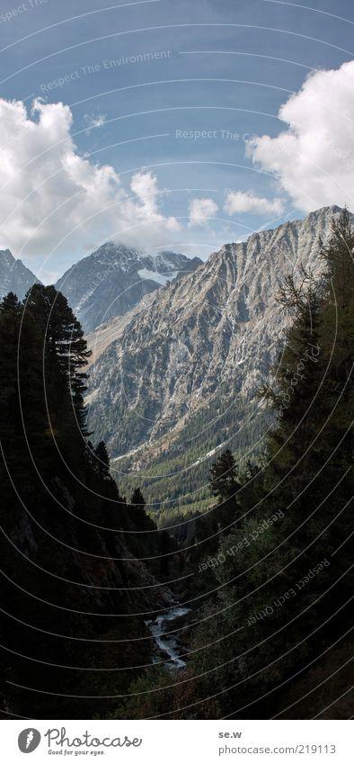Caspar David ... | Antholz [11] Himmel blau Baum Sommer Wolken ruhig schwarz Berge u. Gebirge Luft glänzend Felsen Romantik Alpen Sehnsucht Gipfel Schönes Wetter
