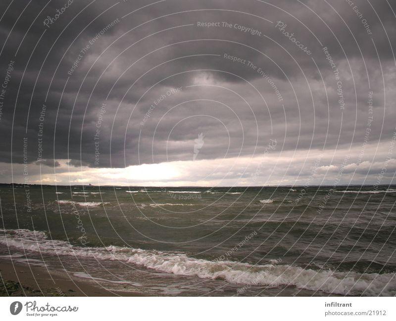 Ruhe vor dem Sturm Wasser Himmel Meer Strand Wolken dunkel grau Wellen Küste bedrohlich Unwetter Ostsee Regenwolken