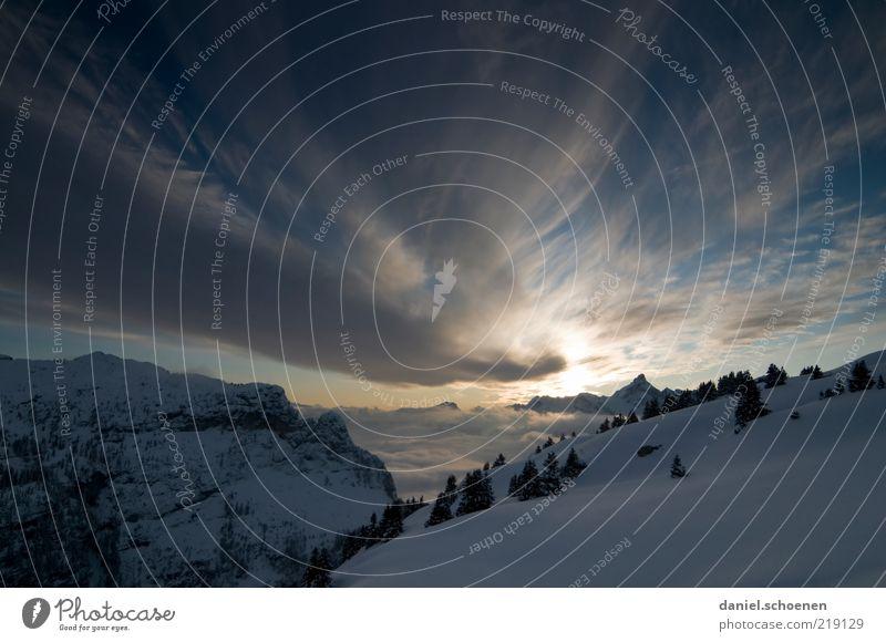 Après Ski, wie es sein sollte ! Himmel blau Winter ruhig Wolken Ferne kalt Schnee Berge u. Gebirge Eis Felsen Frost Alpen Gipfel Schönes Wetter Sonnenaufgang