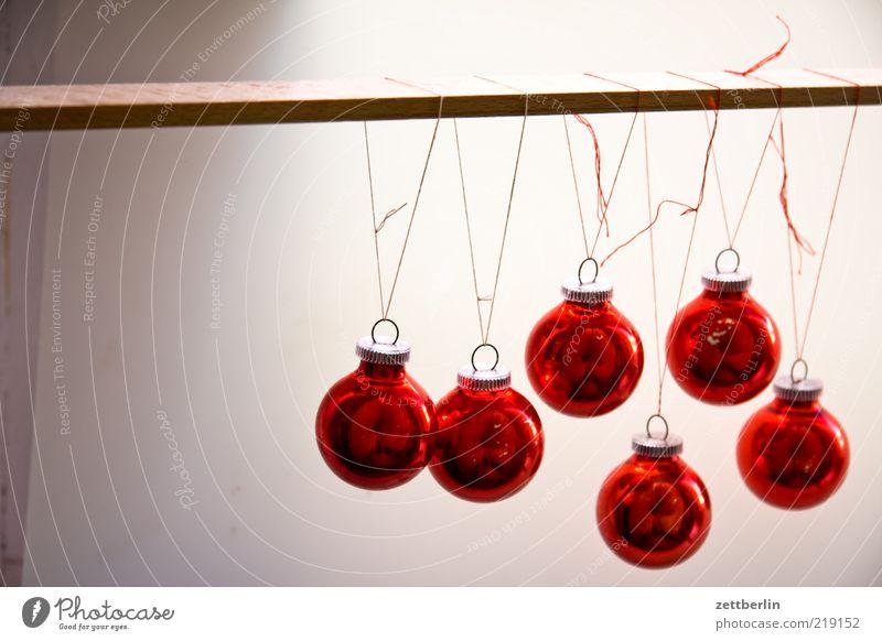 Weihnachtsbaumkugeln Weihnachten & Advent rot Stil Kunst Glas Design rund Dekoration & Verzierung Kugel Schmuck Christbaumkugel hängen Nähgarn Knoten