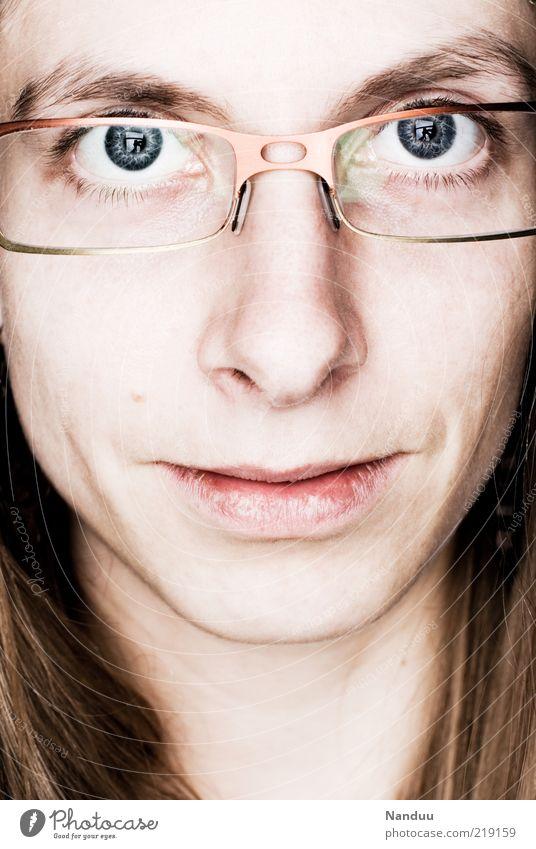 it's me. Mensch Jugendliche Gesicht Auge feminin Gefühle Erwachsene Brille nah Lippen natürlich direkt Lächeln Frau langhaarig Ehrlichkeit