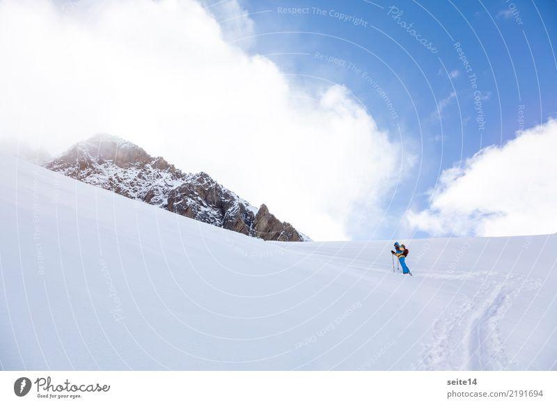 Skitour Ferien & Urlaub & Reisen Abenteuer Freiheit Winter Berge u. Gebirge Sport Skifahren Skier Himmel kalt Glück Zufriedenheit Willensstärke Mut Freestyle