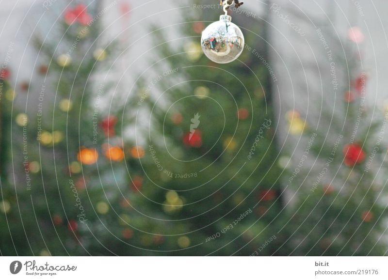 Silberkugel Weihnachten & Advent Baum Winter Stimmung glänzend Glas rund Dekoration & Verzierung einzigartig Kitsch Weihnachtsbaum Kugel Tanne skurril silber