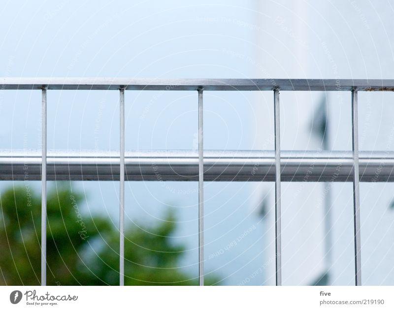 hinter gittern Umwelt Natur Himmel Wolkenloser Himmel Pflanze Haus kalt Treppengeländer Farbfoto Außenaufnahme Tag Unschärfe Schwache Tiefenschärfe Poliert