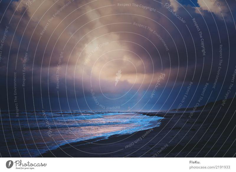 Nordsee Dramatik Ferien & Urlaub & Reisen Tourismus Ferne Strand Meer Wellen Umwelt Natur Landschaft Urelemente Erde Sand Luft Wasser Himmel Wolken Herbst
