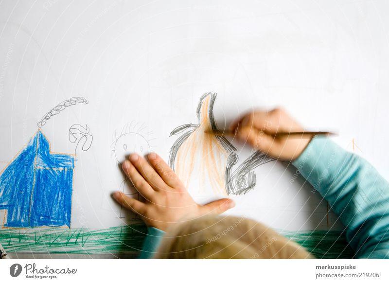 kinder malstunde malen zeichnen Wohnung Kindererziehung Bildung lernen Schreibstift Mensch Kleinkind Junge Kindheit Hand Finger Papier Bleistift gebrauchen