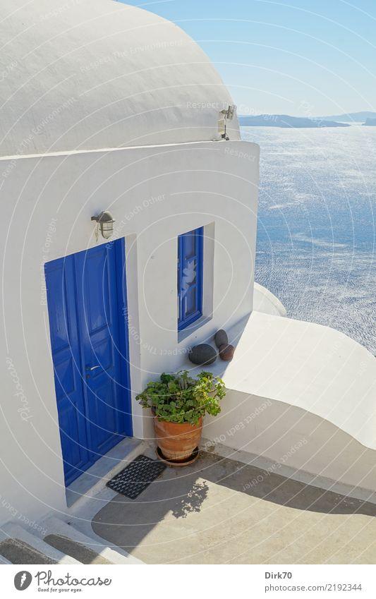 Kykladenblick Ferien & Urlaub & Reisen Tourismus Kreuzfahrt Meer Insel Luftverkehr Wasser Himmel Wolkenloser Himmel Horizont Sommer Schönes Wetter Mittelmeer