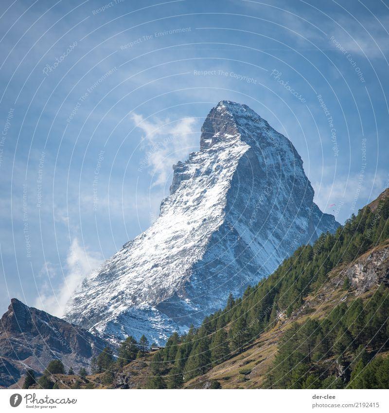 Matterhorn Umwelt Natur Landschaft Urelemente Himmel Wolken Felsen Alpen Berge u. Gebirge Gipfel Schneebedeckte Gipfel Begeisterung Ehre ruhig Fernweh Gewalt