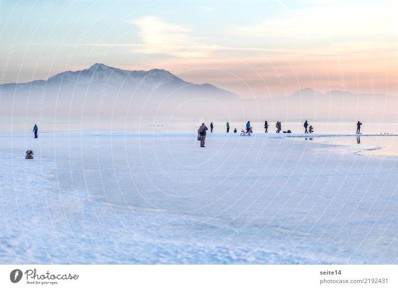 Winter, Chiemsee, Alpen Ausflug Schnee Berge u. Gebirge Weihnachten & Advent Fitness Sport-Training Feierabend Wasser Himmel Nebel Eis Frost Schneefall See kalt