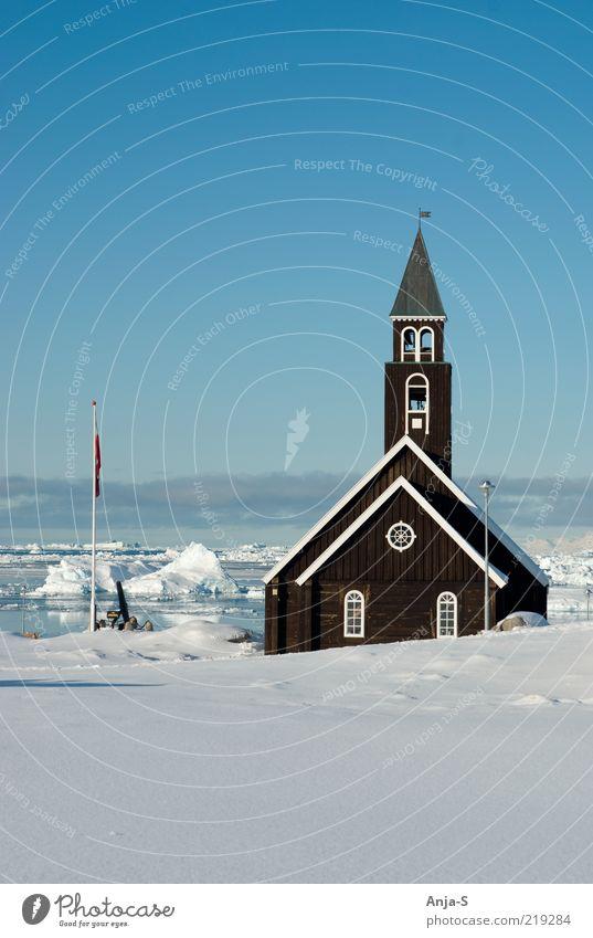 Ilulissat, Greenland Himmel weiß blau Ferne Schnee Gebäude Landschaft Eis Religion & Glaube Umwelt Frost Tourismus Kirche Klima Schönes Wetter Klimawandel