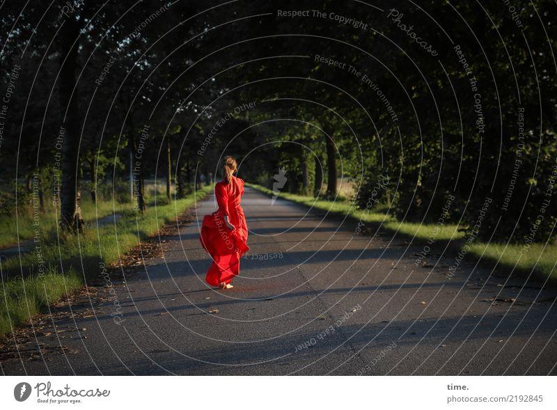 lil't feminin Frau Erwachsene 1 Mensch Landschaft Schönes Wetter Baum Straße Kleid brünett langhaarig Zopf Bewegung drehen gehen Tanzen schön wild rot Gefühle
