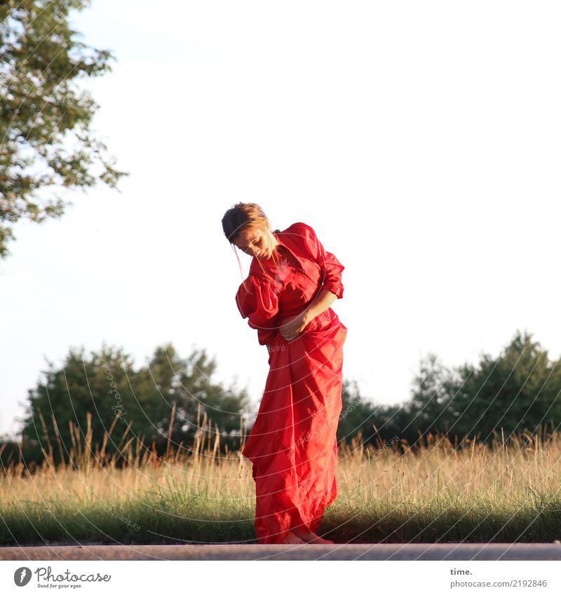 lil't feminin Frau Erwachsene 1 Mensch Sommer Schönes Wetter Baum Gras Wiese Wald Kleid brünett langhaarig beobachten Bewegung drehen festhalten Blick stehen