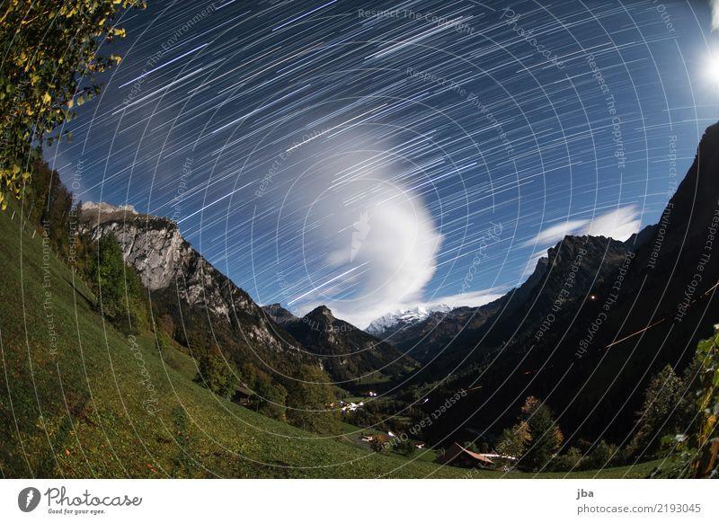 Vollmondnacht im Kiental harmonisch ruhig Freizeit & Hobby Ausflug Freiheit Sommer Berge u. Gebirge wandern Natur Landschaft Urelemente Erde Himmel Nachthimmel