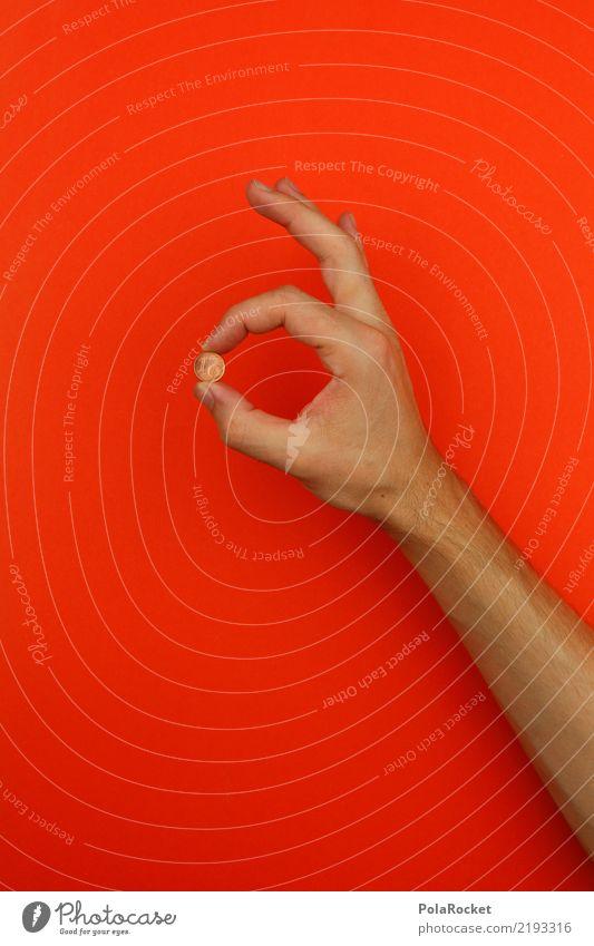 #AS# Wer den Cent nicht ehrt... Kunst ästhetisch Geldmünzen Bargeld wenige Billig rot orange festhalten Hand perfekt Angebot Farbfoto mehrfarbig Innenaufnahme