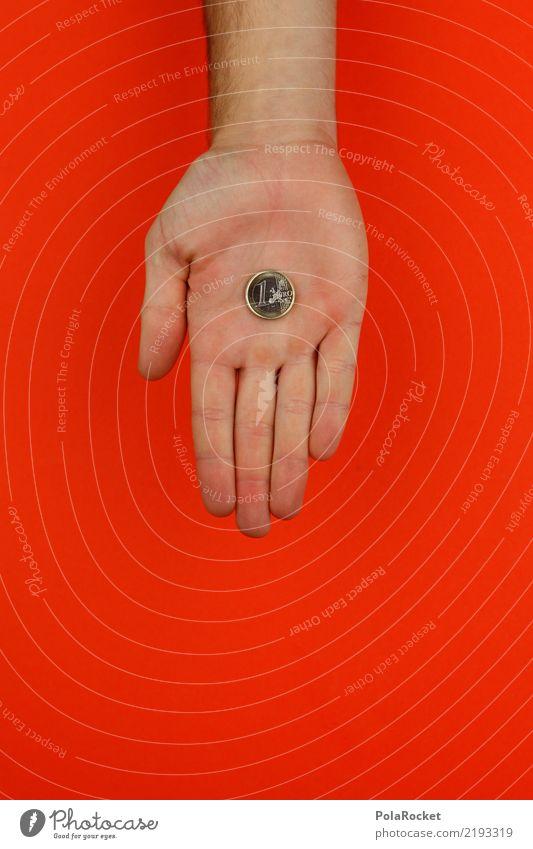 #AS# Hast'e ma n... Kunst ästhetisch Geld Geldinstitut Geldmünzen Geldgeschenk Geldgeber Hand Aufenthalt Euro 1 Finger wenige Spende zeigen Geschenk Farbfoto