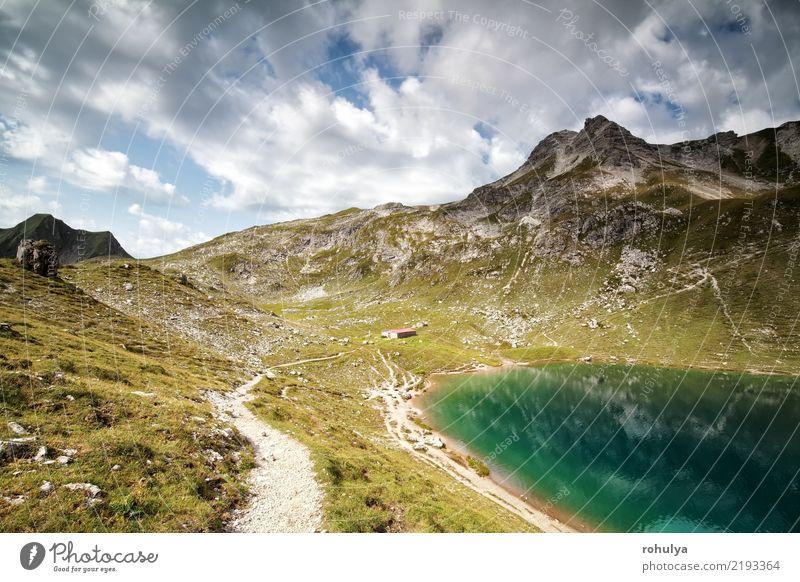 türkischer alpiner See am sonnigen Tag des Sommers Ferien & Urlaub & Reisen Berge u. Gebirge wandern Natur Landschaft Himmel Wolken Schönes Wetter Felsen Alpen