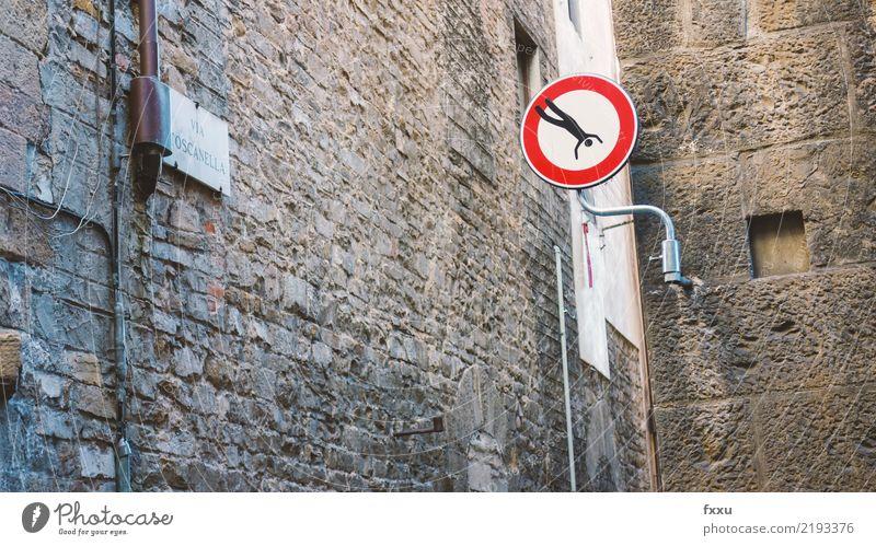 Stoppschild Straße Kunst springen Verkehr Schilder & Markierungen gefährlich Hinweisschild bedrohlich fallen stoppen Risiko Figur Warnhinweis Straßenkunst Halt