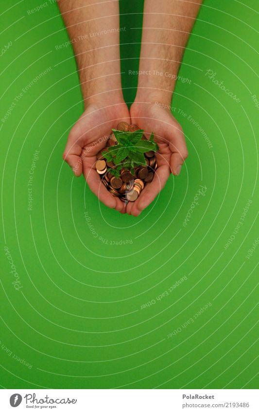#AS# ökologisch investieren Geld Kitsch Investor Geldmünzen Geldgeber Aktien Zinsen Sparbuch nachhaltig grün Hand festhalten biologisch Gesundheit