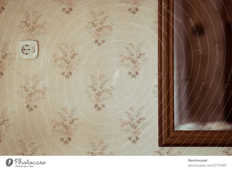 Damals Häusliches Leben Wohnung Mauer Wand alt retro braun beige Tapete Tapetenmuster Spiegel Lichtschalter Farbfoto Gedeckte Farben Innenaufnahme Muster