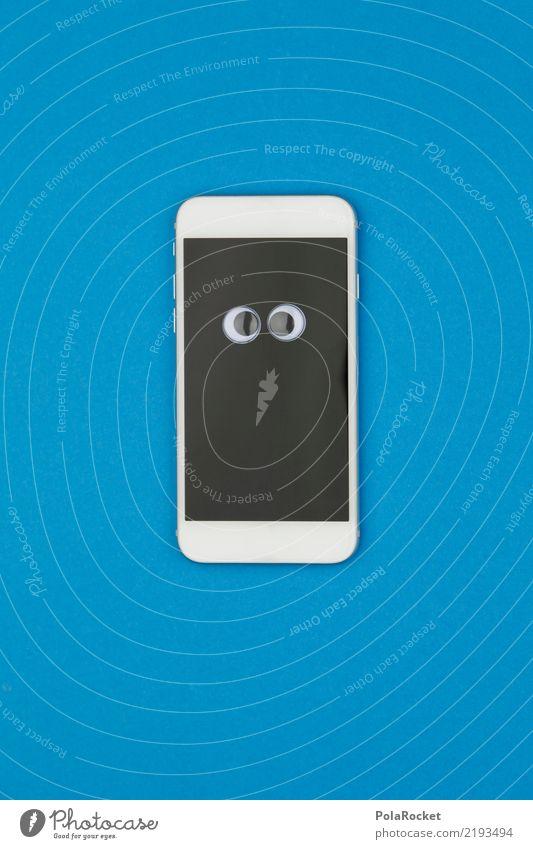 #AS# Handy verwirrt blau Freude Auge lustig Kunst ästhetisch Internet Mobilität Computernetzwerk Bildschirm Comic Anzeige spaßig Spaßvogel Empfang