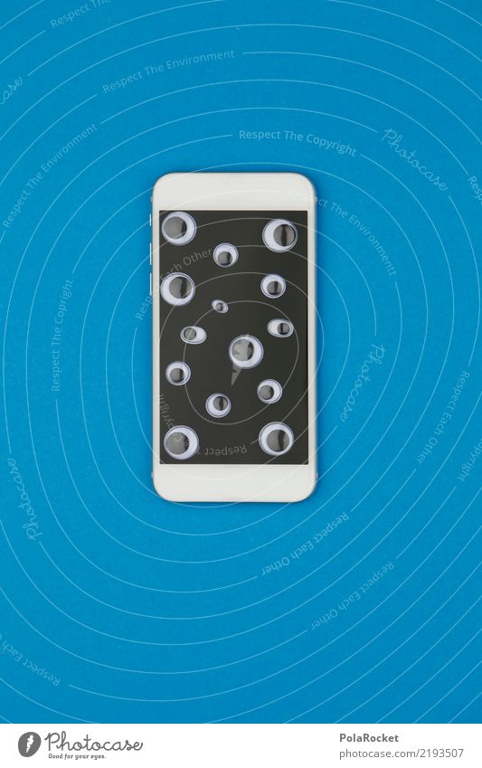 #AS# Spionage Handy Kunst Kunstwerk Kitsch beobachten spionieren Türspion Spitzel Handy-Kamera Auge Neugier Anzeige Bildschirm Datenschutz Internet durchsichtig