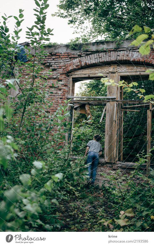 jemand zuhause? Frau Mensch Natur Jugendliche Einsamkeit Haus Wald Fenster 18-30 Jahre Erwachsene feminin Häusliches Leben ästhetisch warten kaputt Neugier