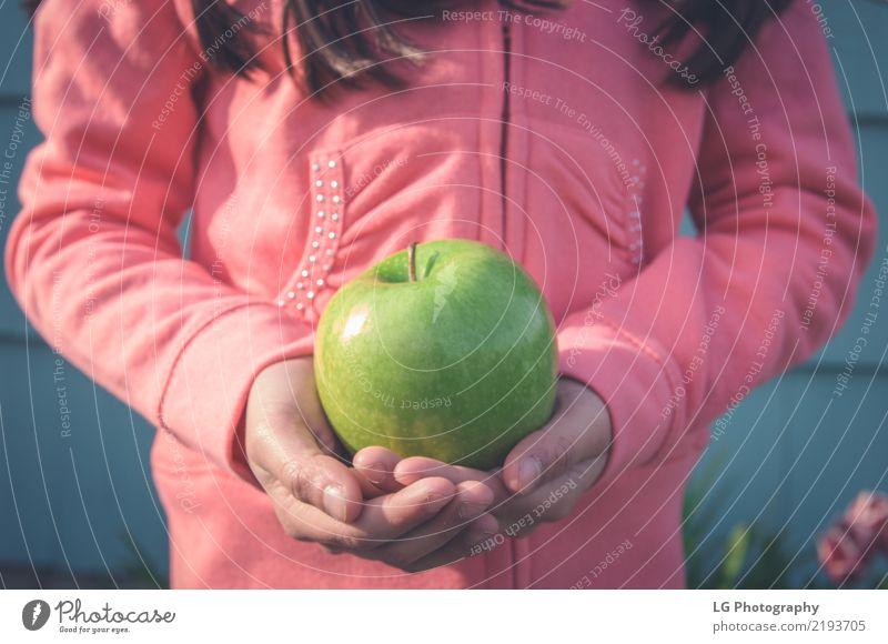 Mädchen, das grünen Apfel anhält Frucht Essen Frau Erwachsene Hand frisch niedlich rosa Anschnitt Grundschulalter Lebensmittel Gesundheit horizontal Kinder