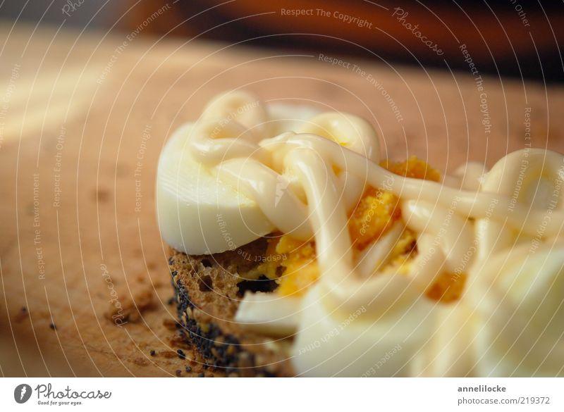 Eierstulle mit Mayo Ernährung Lebensmittel lecker Frühstück Brot Fett Abendessen Schneidebrett Bioprodukte Anschnitt Bildausschnitt Belegtes Brot Speise