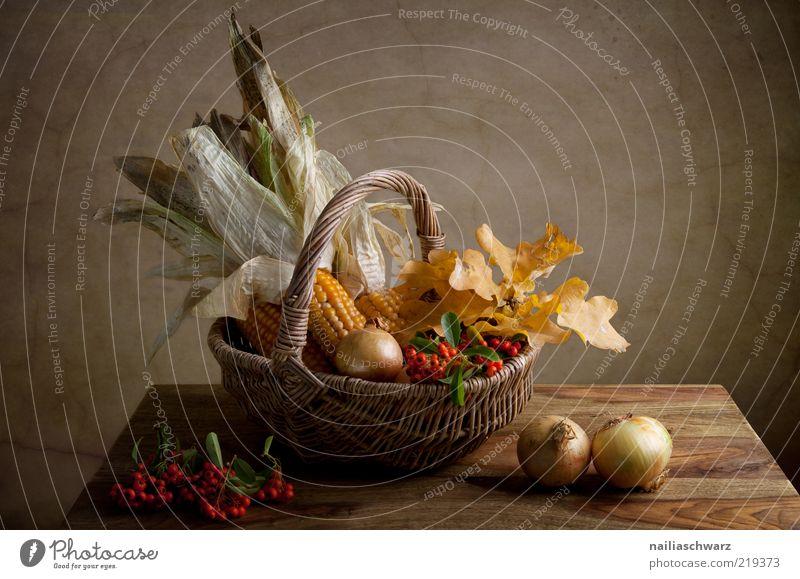 Herbstliches Stilleben Lebensmittel Gemüse Getreide Mais Maiskolben Beeren Zwiebel Ernährung Bioprodukte Vegetarische Ernährung Natur Blatt Ahornblatt Korb