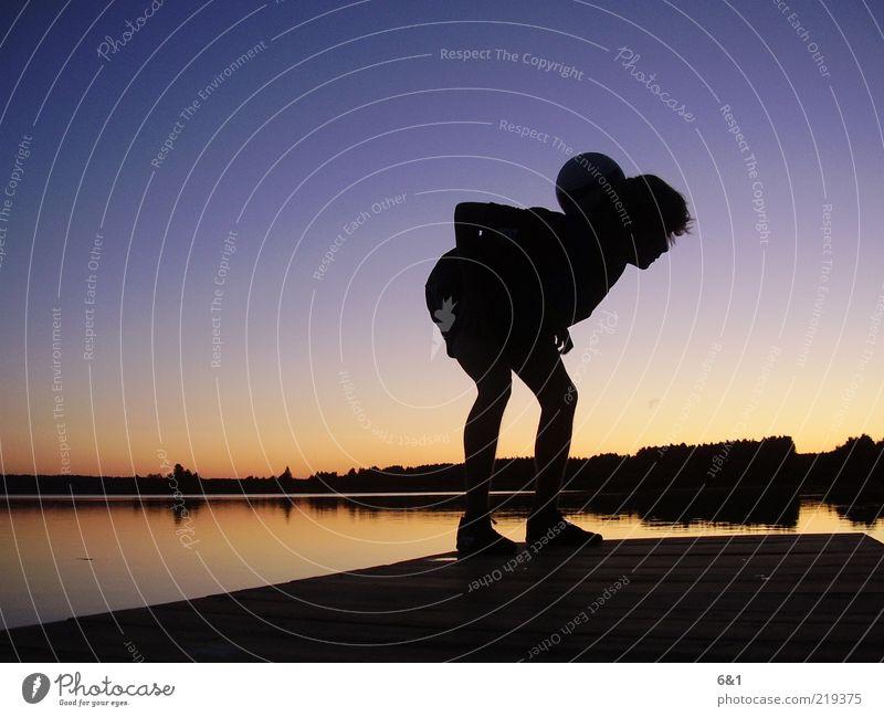 forget the world Natur Himmel ruhig Sport Erholung Spielen See Landschaft Umwelt Horizont ästhetisch Ball authentisch Lebensfreude sportlich Abenddämmerung