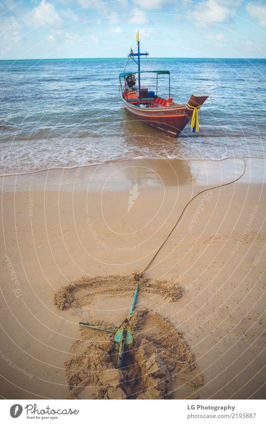 Ferien & Urlaub & Reisen blau schön Sonne Meer Erholung Strand Wärme Freiheit braun Sand Wasserfahrzeug Horizont Verkehr Abenteuer Seil