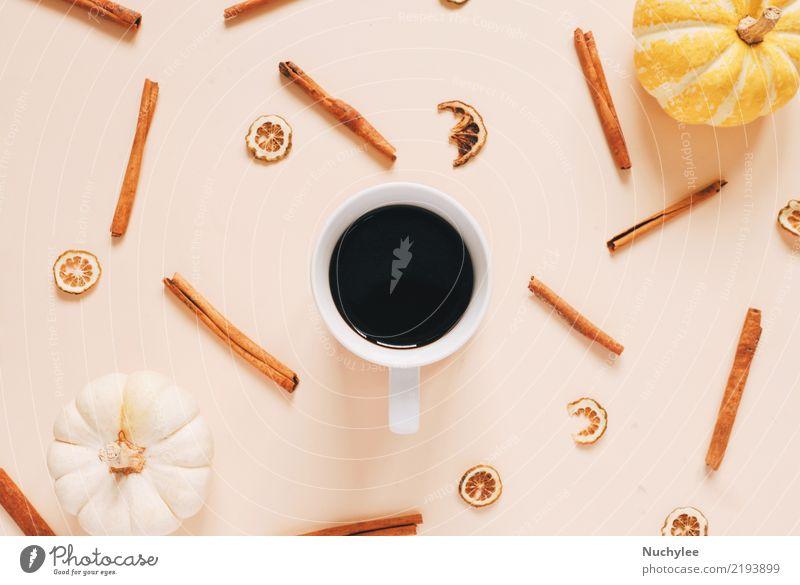 Flache Laienart von Herbst und Erntedank Kräuter & Gewürze Kaffee Freude schön Tisch Tapete Feste & Feiern Erntedankfest Halloween Handwerk Kunst Natur Blatt